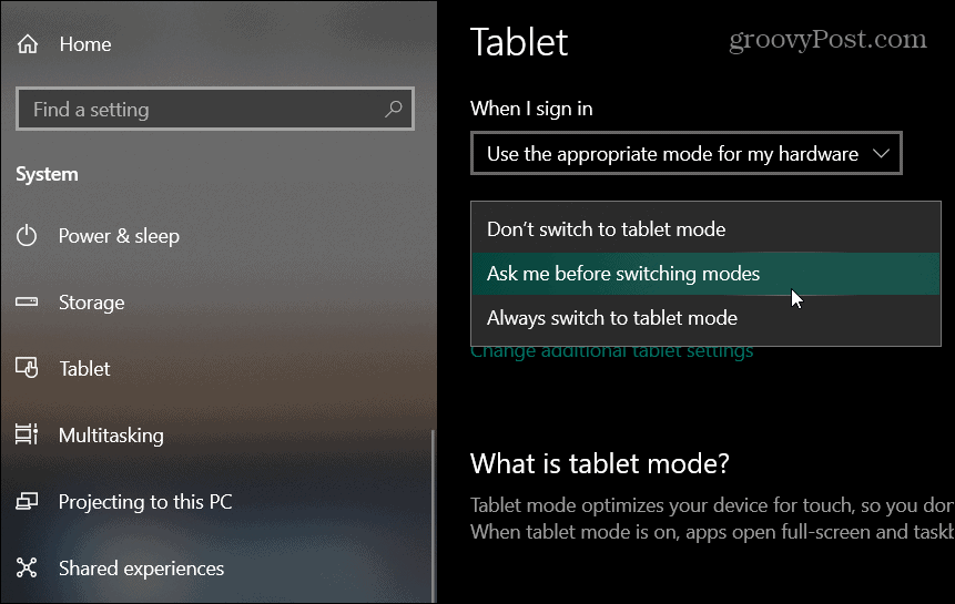 tablet settings windows 10