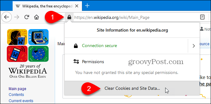 Clear cookies and site data for the current site in Firefox