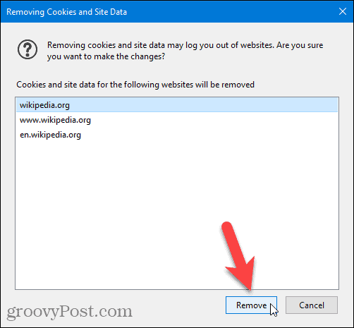 Removing Cookies and Site Data dialog in Firefox