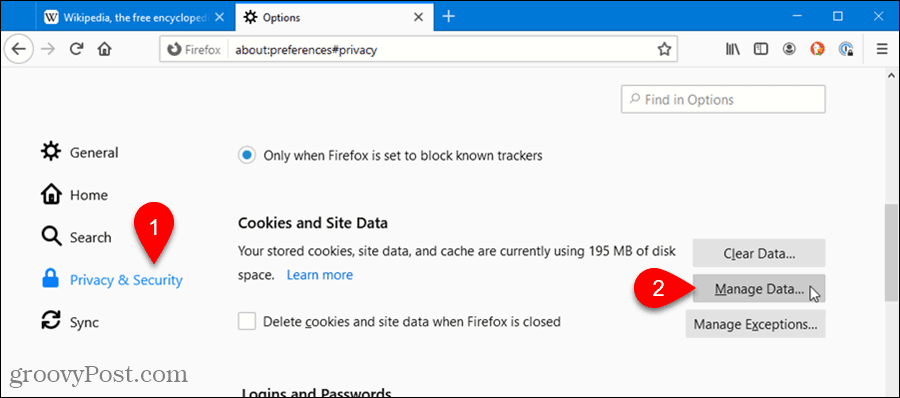 Click Manage Data in Firefox