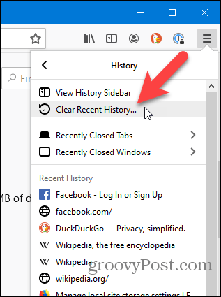 Select Clear Recent History on History menu in Firefox