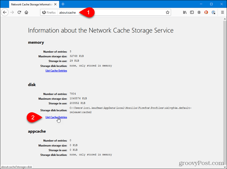 The about:cache page in Firefox