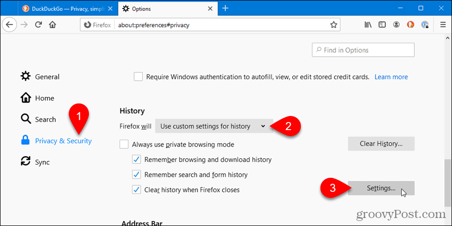 Click Settings for Clear history when Firefox closes