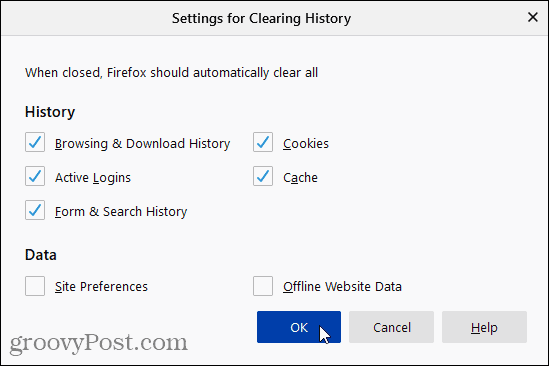 Settings for Clearing History dialog in Firefox
