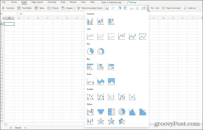 excel online charting