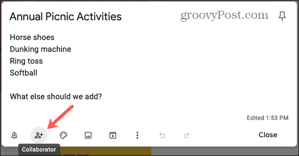 Add a Collaborator to Share Notes in Google Keep Online