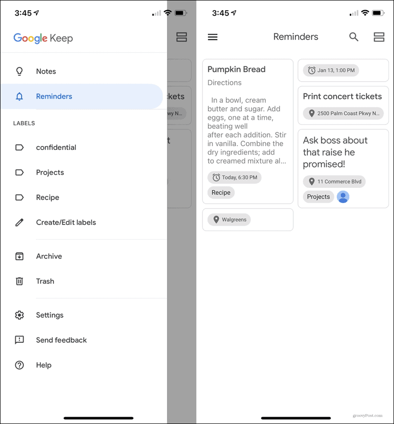 All Reminders Google Keep Mobile