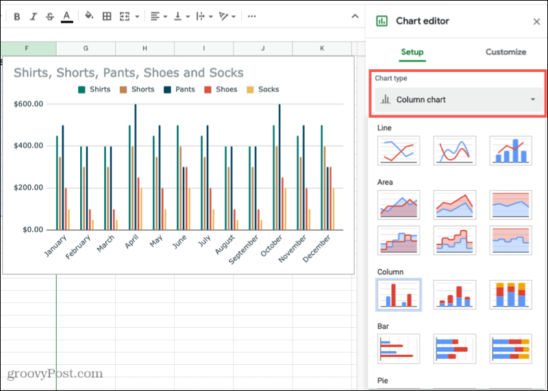 Create a Chart in Google Sheets