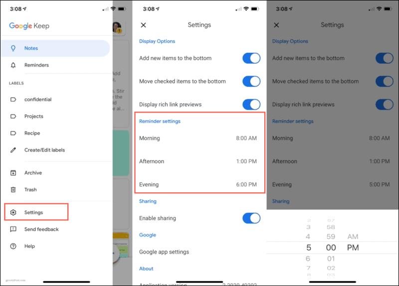 Default Reminder Times Google Keep Mobile