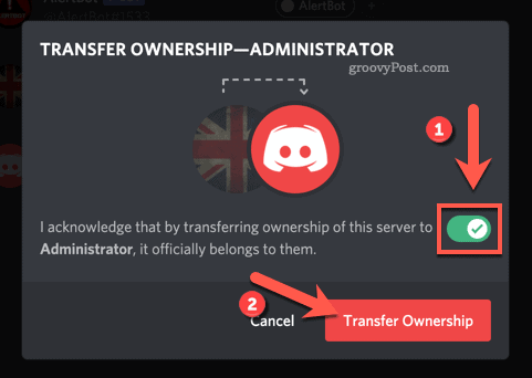 Confirm Discord server ownership transfer