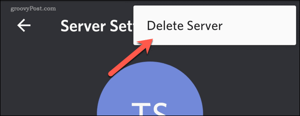 Discord mobile delete server option