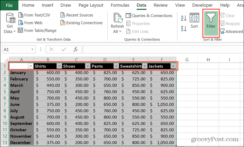 Enable Filters in Excel