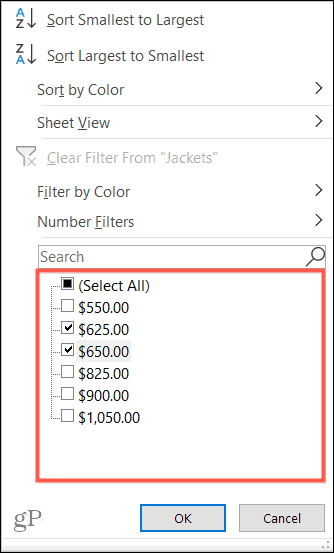Filter by Value in Excel