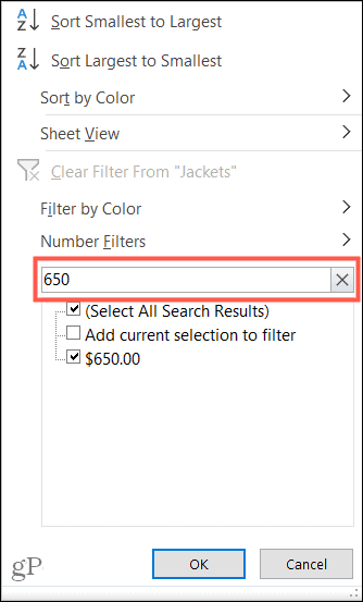 Filter Value Search