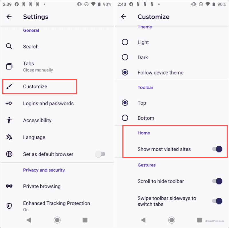 Firefox Customize Home on Android