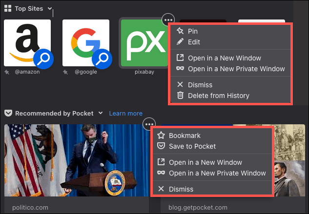 Firefox Home Menus for Sites