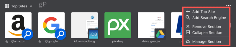 Firefox Home Menu for Top Sites