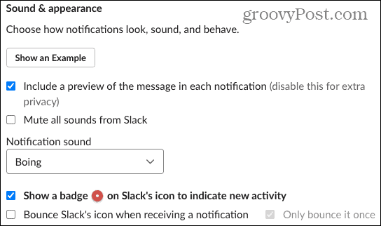 Notification Sound and Appearance