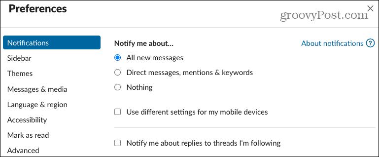 Preferences Notifications in Slack Desktop