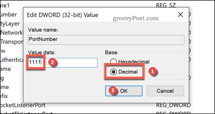 Editing RDP port in Regedit