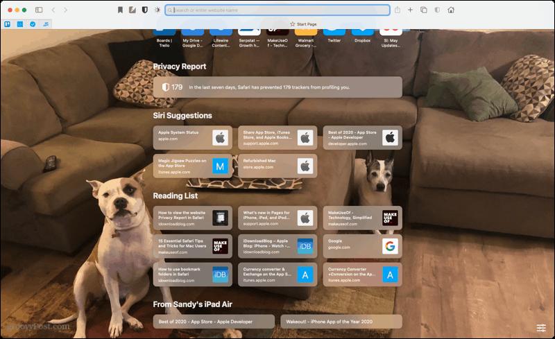 Safari Start Page on Mac