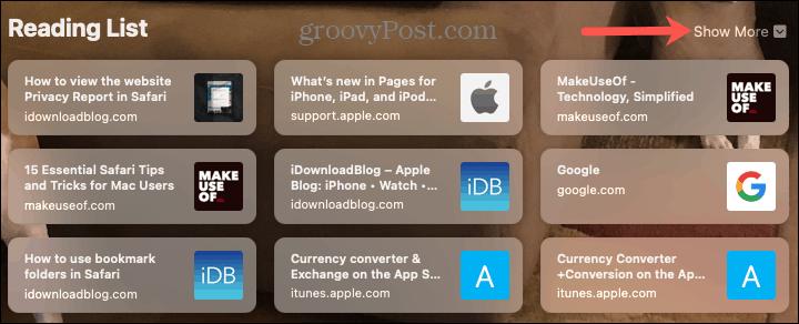 Reading List on the Safari Start Page