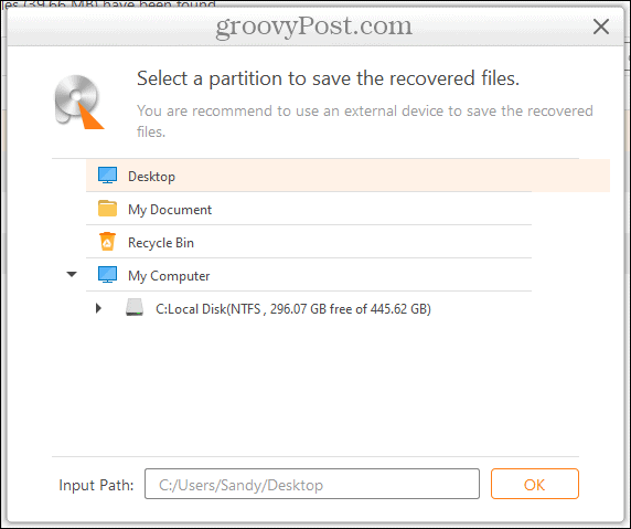 Save Location in AnyRecover