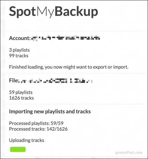 Transferring playlists to Spotify using SpotMyBackup
