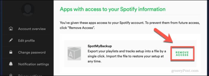 Revoking SpotMyBackup access to Spotify