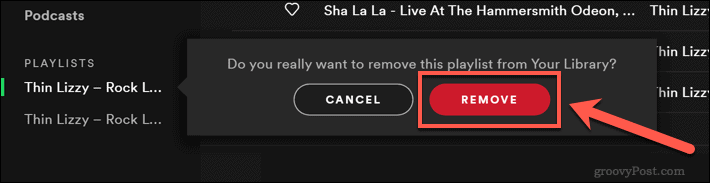 Confirming a Spotify playlist removal