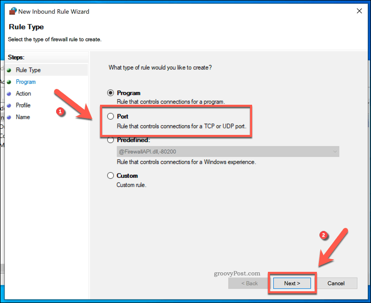 Creating a new Windows Firewall Inbound Port Rule
