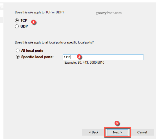 Creating a new port rule in Windows Firewall