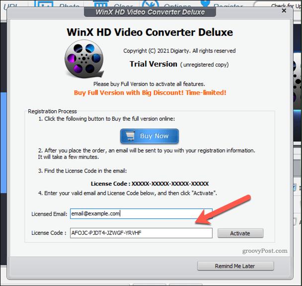 Adding a WinX Video Converter license