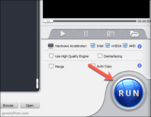 Starting a video conversion using WinX