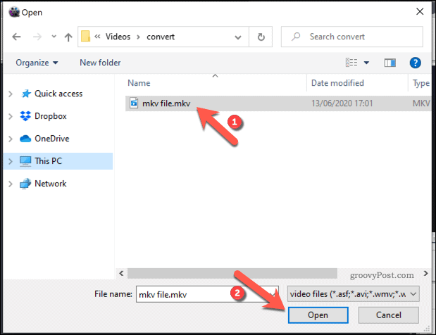 Selecting a video file in WinX
