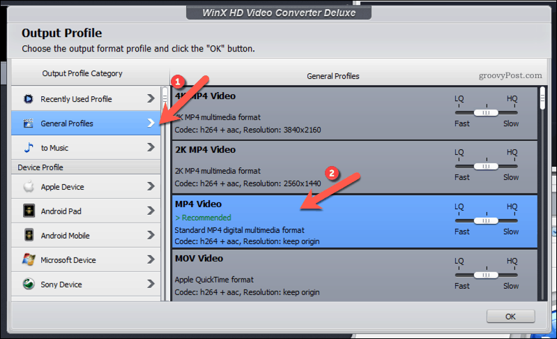 Selecting an MP4 Output Profile in WinX