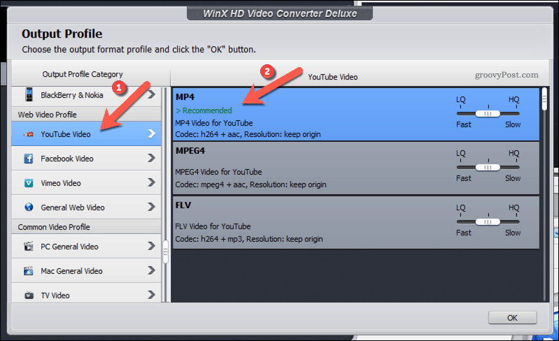 Selecting a YouTube-friendly MP4 output profile in WinX