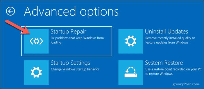 Running Automatic Repair on Windows 10