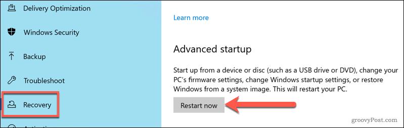 Restarting into Windows Advanced Startup options menu