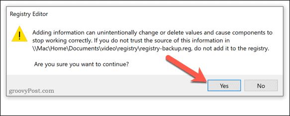 Confirming a Registry backup repair