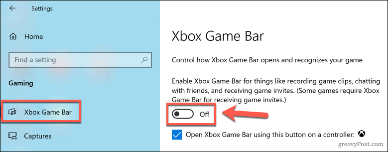 Disabling the Xbox Game Bar in Windows 10