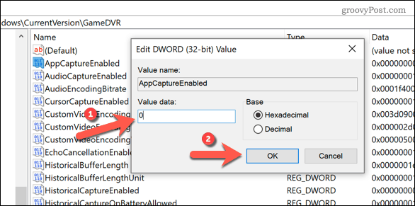 Editing Windows Registry to disable Game Bar