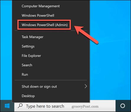 Launching Windows PowerShell in Windows 10