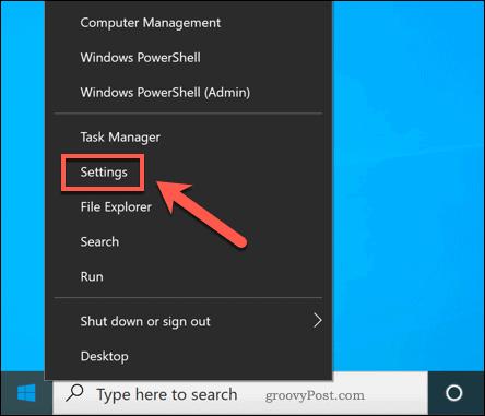 Opening Windows Settings
