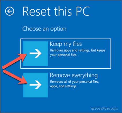Options for resetting a Windows 10 PC