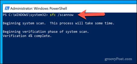 Running SFC Tool in Windows PowerShell
