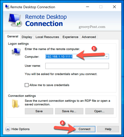 Establishing an RDP connection using a custom port and advanced settings