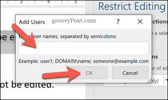 Add edit exceptions by user in Word
