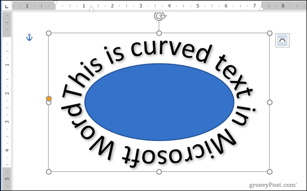 An example of curved text around a shape in Word