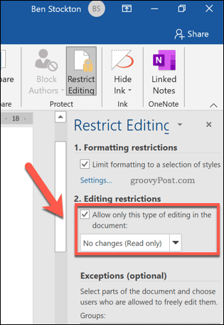 Enable editing restrictions in Word